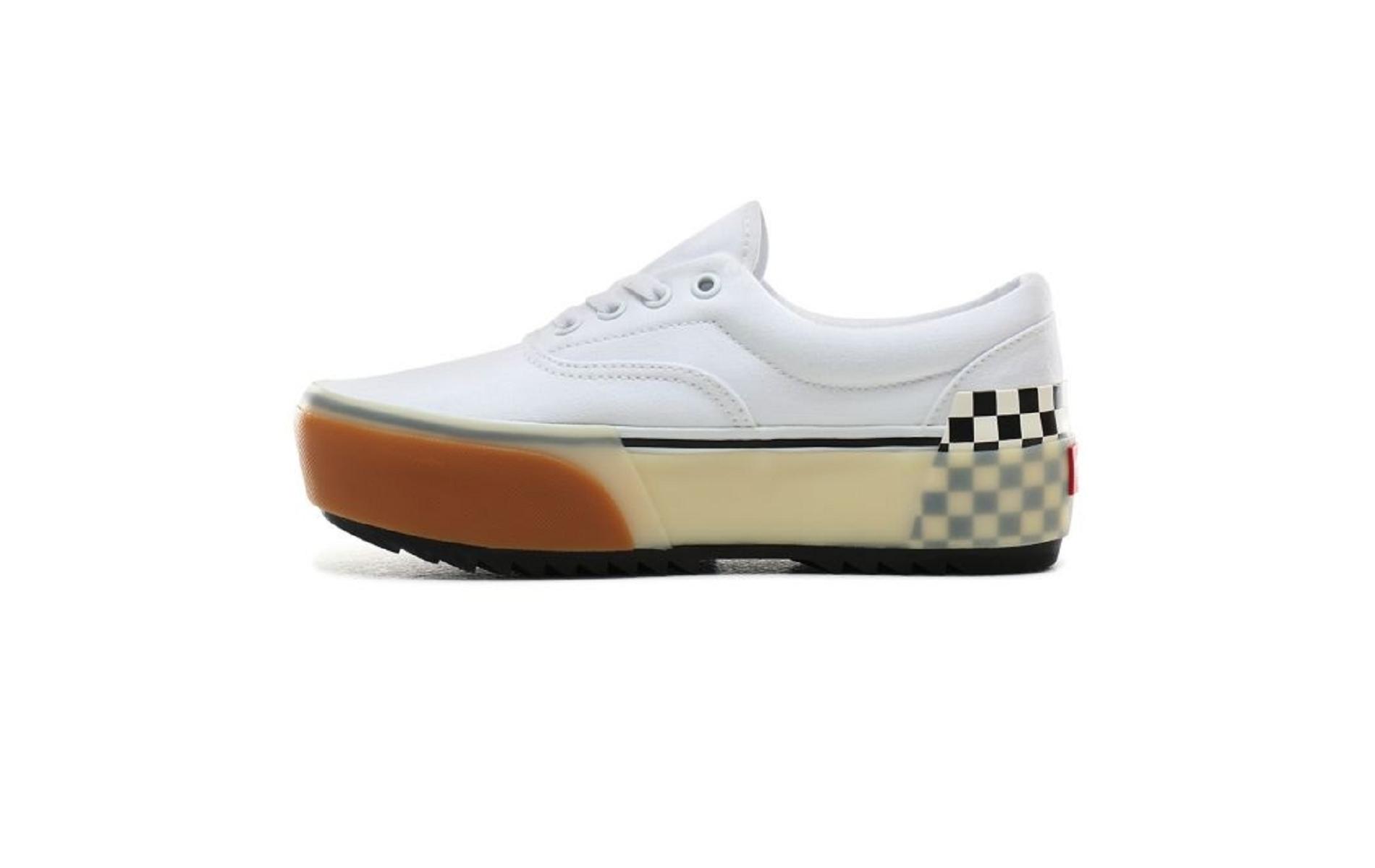 Vans era stacked white checkerboard blanc